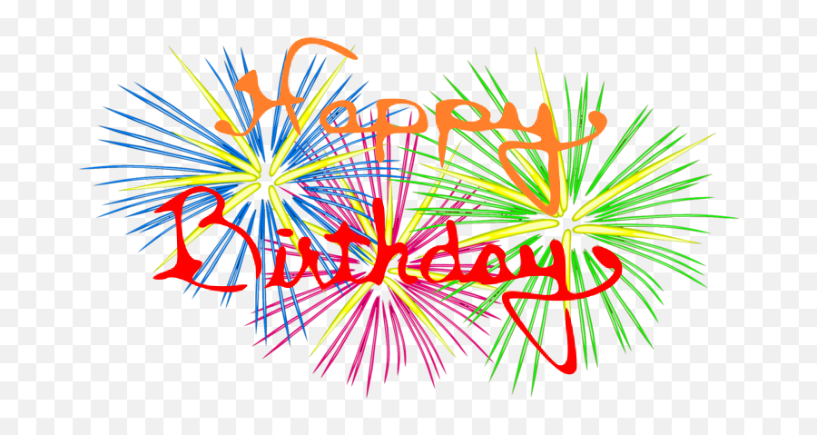Bday And Fireworks - Happy Birthday Firework Png