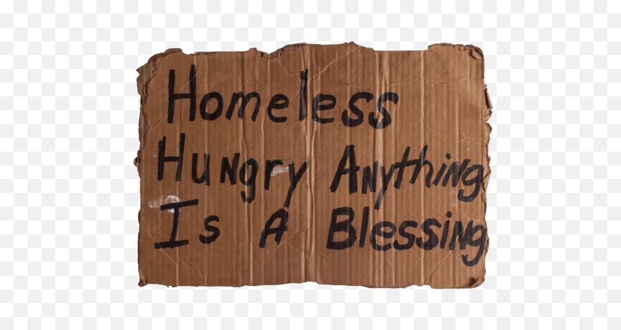 Download Royalty Free Sign Transparent Homeless - Homeless Cardboard Sign Png