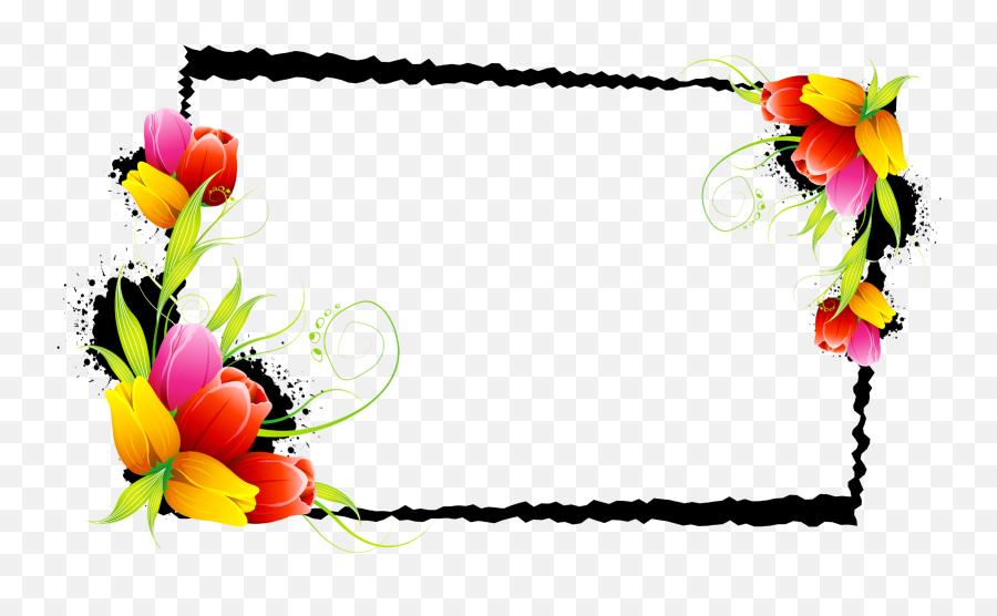 Download And Decorative Flower Floral Design Frames Borders - Floral Border And Frame Png,Decorative Borders Png