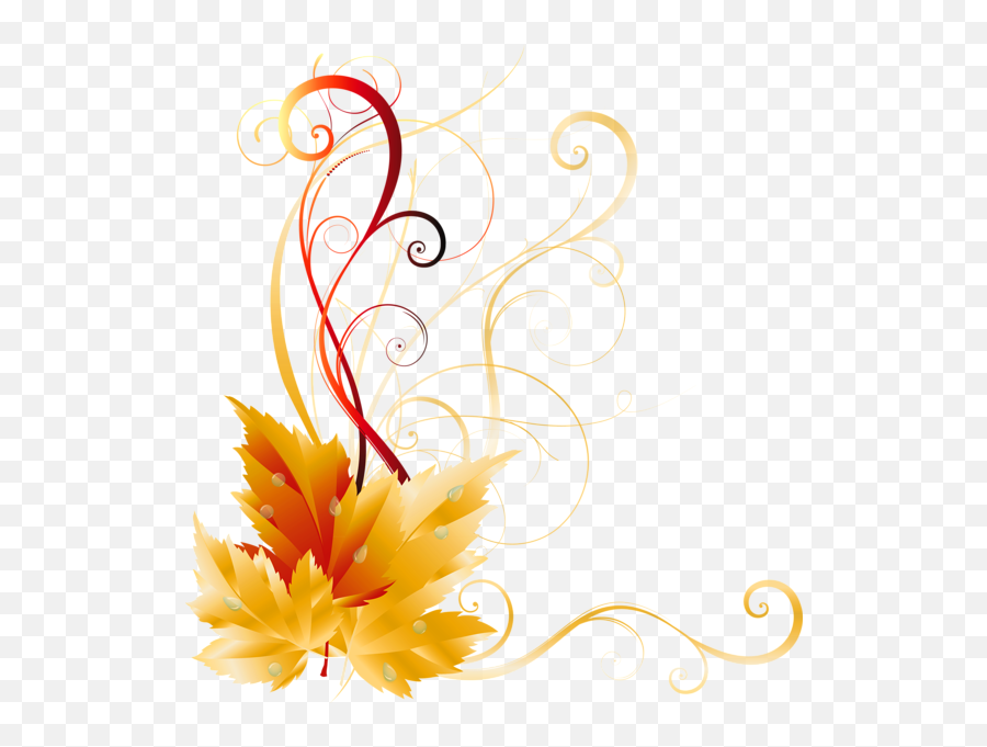 Transparent Fall Leaves Decor Picture - Side Border Design Png