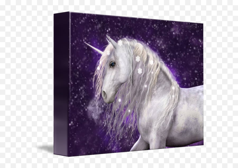 Winter White By Elle Arden - Beautiful White Unicorn Horse Png,Falling Snow Transparent Background