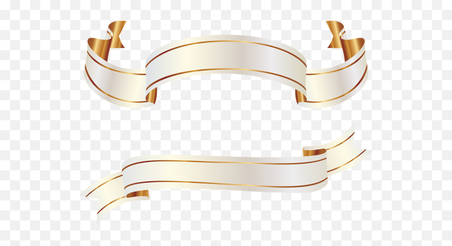 White And Gold Banners Png Clipart Picture - Ribbon Vector Gold Png,Vintage Banner Png
