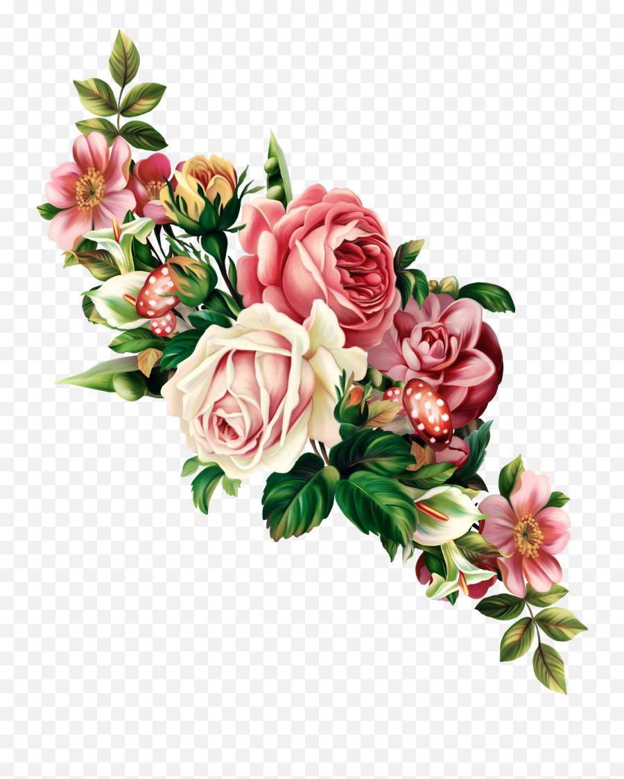 Vintage Floral Spray Tattoo - Vintage Roses Png,Vintage Flower Png