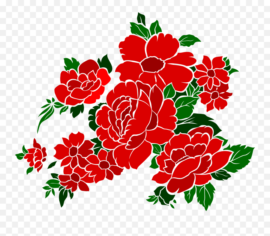 Download Hd Vintage Flower Clipart Red - Wedding Red Flower Vector Png,Vintage Flower Png