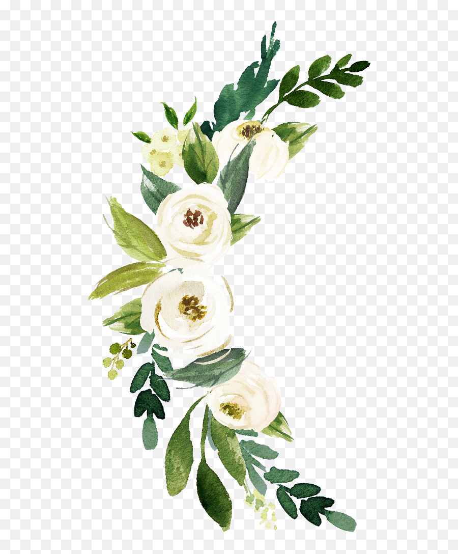 Crescent Watercolor Flowers Temporary Tattoo - Watelcolor Flower Png,Water Color Flower Png