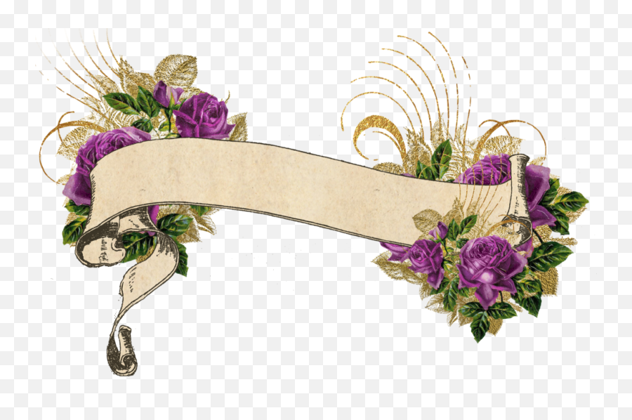 Watercolor Floral Banner Png Images - Vintage Floral Banner Png,Watercolor Banner Png