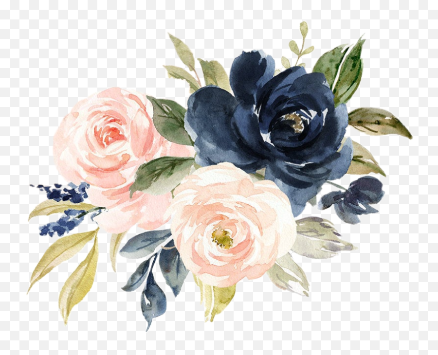 Floral Bouquet Arrangement Blush Nav - Navy And Blush Watercolor Flowers Png,Watercolor Flowers Png
