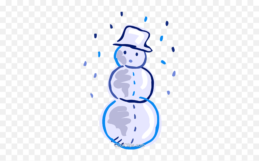 Snowman Wearing A Hat With Snow Falling Royalty Free Vector - Clip Art png