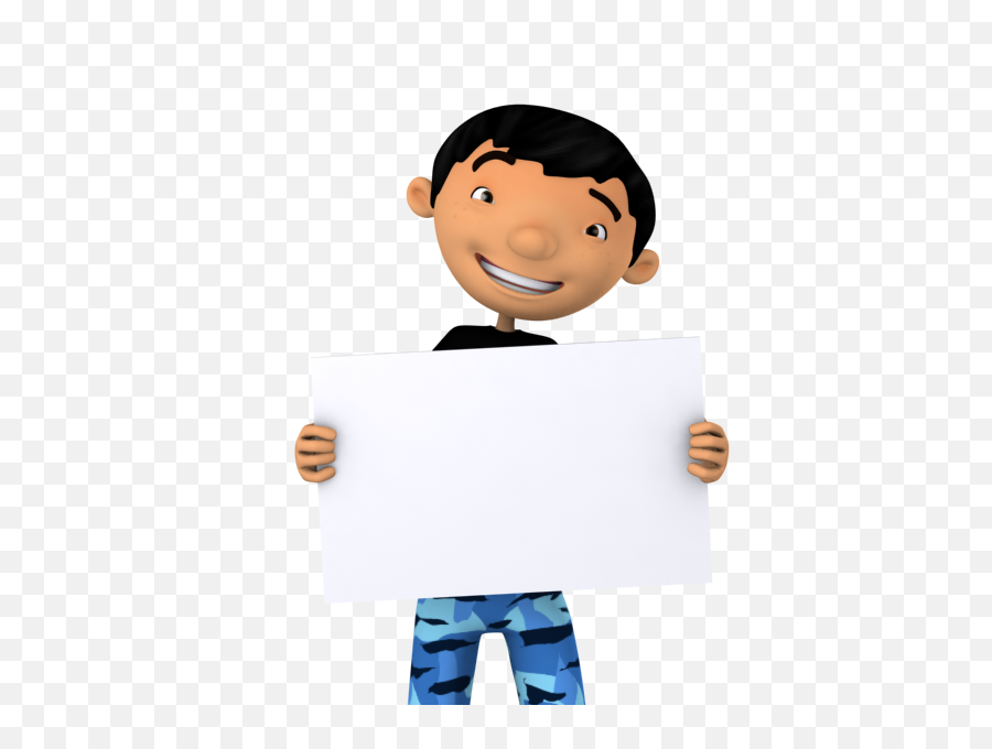 Cool Boy Holding A Blank Board - Boy Holding A Board Png,Blank Banner Png