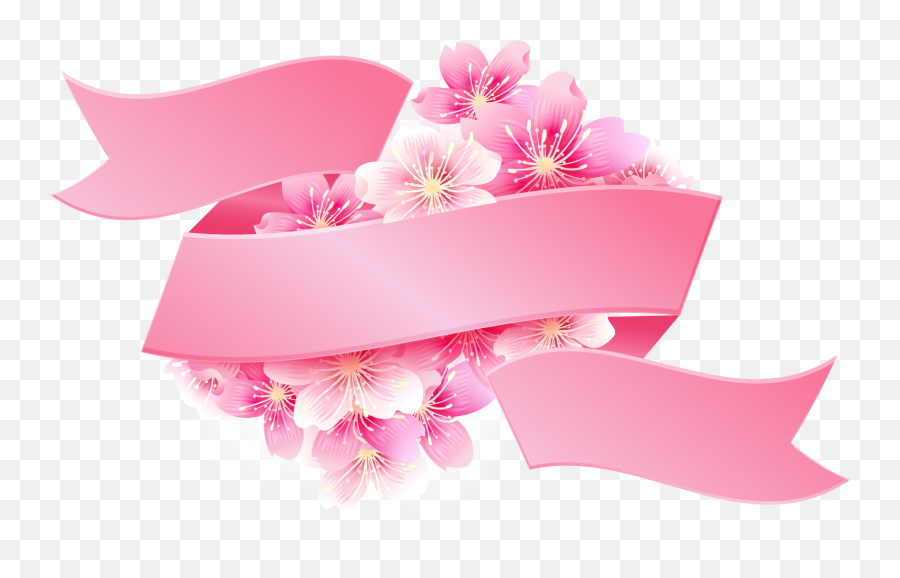 Pink Ribbon With Flowers Png Image For Free - Vector Pink Ribbon Png,Pink Ribbon Png