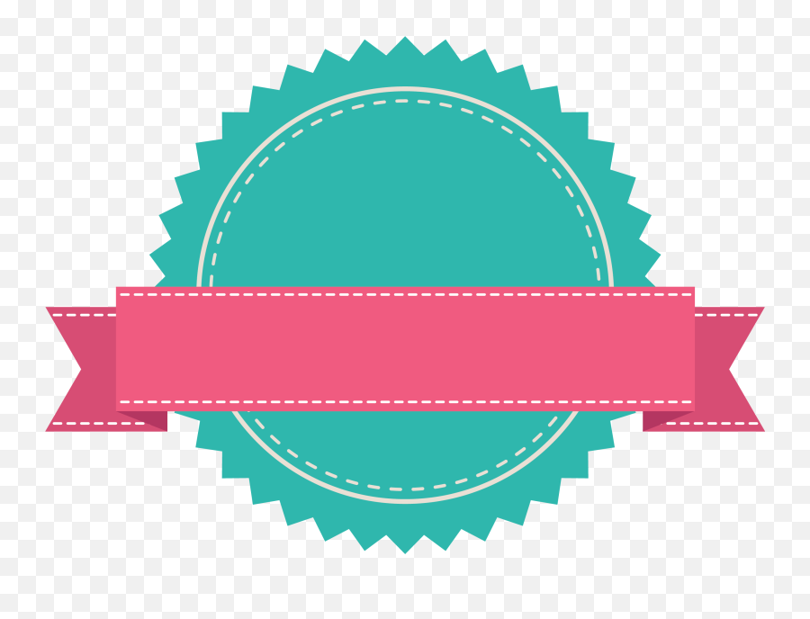 Green Badge With Pink Ribbon Banner Fold Wedge - Ribbon Banner Png Vector,Blank Banner Png