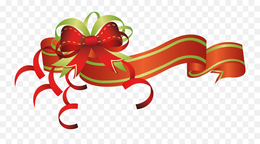 Christmas Flowers Clip Art Ribbons - Christmas Banner Transparent png